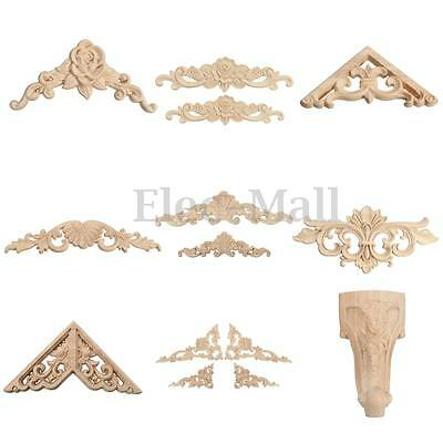 Rubber Wood Carved Corner Onlay Applique Carving Decor Furniture Craft Unpainted