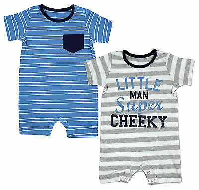 Boys PACK OF 2 Little Cheeky Man Stripe Rompers Tiny Prem Baby to 18 Months