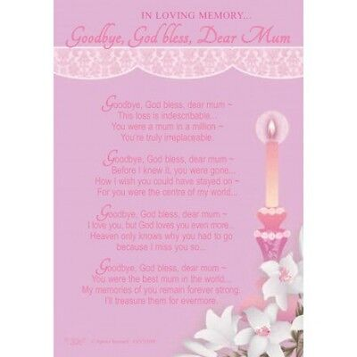 Goodbye God Bless Dear Mum Loving Memory Grave Memorial Keepsake Waterproof Card