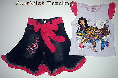 BNWT Bratz Top tshirt girls fashion denim skirt 100% cotton brand new