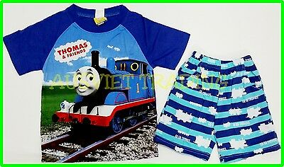 BNWT Thomas The Tank boys Pyjamas 100 % cotton tshirt top t-shirt 3/4 pants