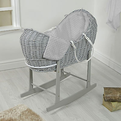 4Baby Grey Wicker / Grey Dimple Padded Snooze Pod Moses Basket & Rocking Stand