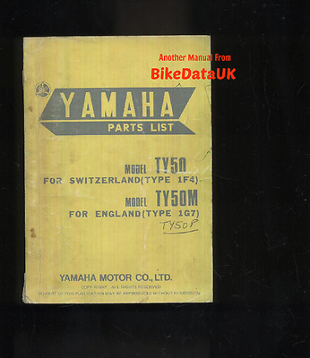 Genuine Yamaha Trials TY50M (1976-on) Parts List Catalogue Manual Book TY 50 M P