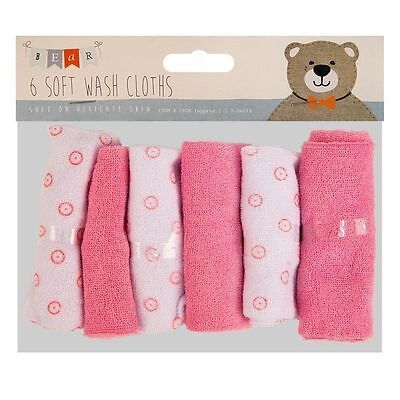 6 Pack Baby Kids Soft Wash Cloth Bath Feeding Shower Towel Flannel Wipe Pink