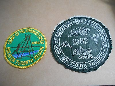 (Rz3-R)  Two Crooked Creek Scout Camp Badges   Canadian Scout Badges