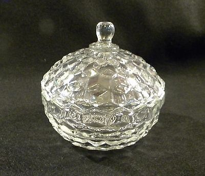Vintage FOSTORIA American Pattern Clear Glass Candy Dish Bowl w Lid