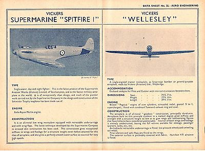 """The  VICKERS SUPERMARINE """"SPITFIRE I""""   &  VICKERS """"WELLESLEY"""" (1938 Data Sheet)"""