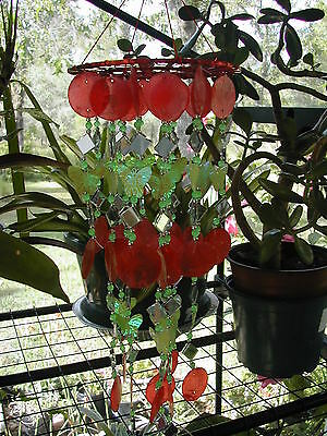 Bright, Colorful, Red Capiz Shell Chime 10 Strand W/grn.butterfly&glass Beads