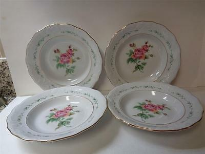 4 Gibson Housewares China VICTORIAN ROSE 8 inch Rimmed Soup Bowls Pink Rose Gold