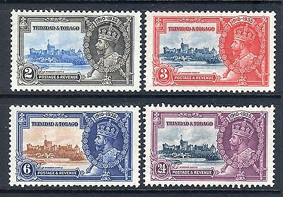 TRINIDAD & TOBAGO: 1935 Silver Jubilee Set of 4  ~ Fresh Lightly Mounted Mint