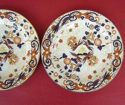 2 Wedgwood Creamware Plates Chinoiserie Floral 19thc