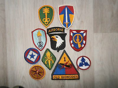 Us Army Lot K Of 10 Coloured Patches