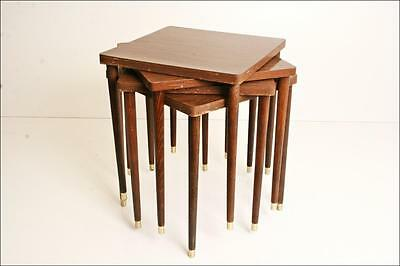 (4) Danish Modern STACKING SIDE TABLE SET mid century wood vintage 60s eames era