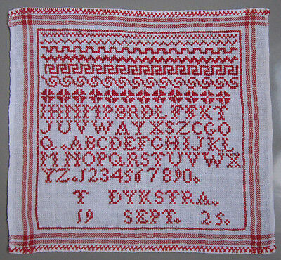 1925 Old Dutch Red Alphabet Sampler Borders Letters Numbers Signed 't Dykstra'