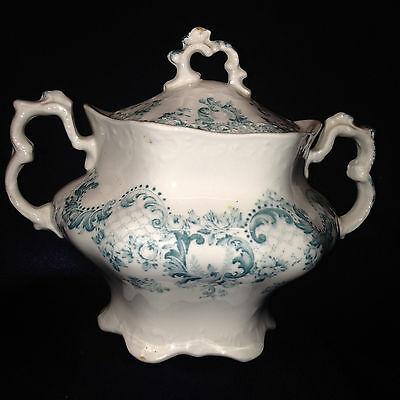 Johnson Brothers England Cloverly Blue Green Floral Sugar Bowl Scalloped