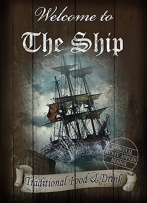 The Ship  Traditional British Pub  Vintage Style Home Decor Metal Sign