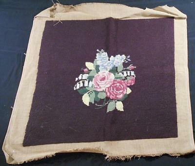 Vintage Finished Needlepoint Pillow Top Chair Seat Cover Gorgeous Roses On Brown