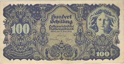 1945 100 Schilling Austria Currency Banknote Note Money Bank Bill Cash Wwii Rare