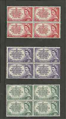 SG264-6 AUSTRALIA CORONATION UMM SET IN BLOCKS OF 4 SOME TONING ON 2/-s