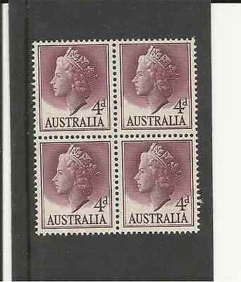 SG282a AUSTRALIA 4 1/2 d LAKE QUEEN ELIZABETH UMM BLOCK OF 4