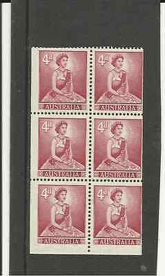 SG313ab AUSTRALIA 4d CARMINE RED QUEEN ELIZABETH MM BOOKLET PANE