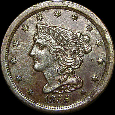 1855 Braided Hair Half Cent US Type Penny   ---- STUNNING ----- #H125