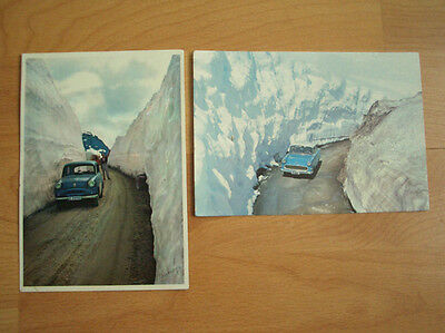 2 Vintage Postcards - Cars in High Mountain Passages in Norway c.1950s