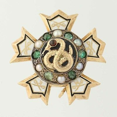 Antique Sigma Nu Badge - 14k Gold Emeralds Pearls Garnets 1890s Fraternity Pin