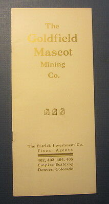 Old 1907 GOLDFIELD MASCOT MINING Co. Prospectus Booklet - NEVADA GOLD MINE