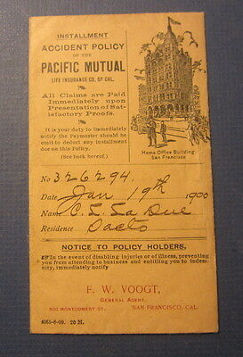 Old 1900 - PACIFIC MUTUAL Insurance - San Francisco CA. - Payment Envelope