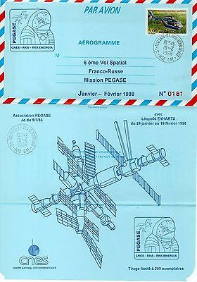 PEGASE CNES CCCP joint mission Leopold EYHARTS onboard Space aerogram 1/200 RARE