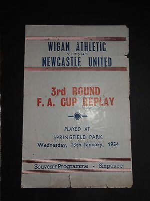 1954 Wigan Athletic V Newcastle United Pirate Programme Fa Cup 3Rd Round Replay