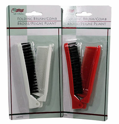 1 Red 1 White Folding Compact Travel Pocket Brush Comb