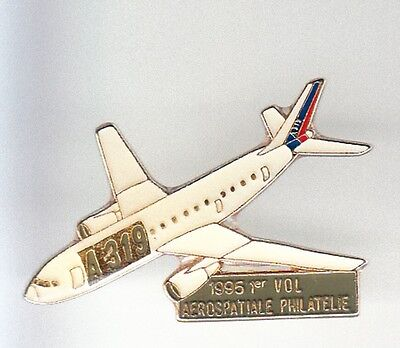 Rare Pins Pin's .. Avion Plane Airlines Airbus Timbre Aerospatiale 1 Er Vol ~Bl