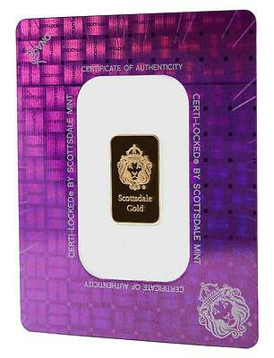 2 gram Scottsdale Mint .9999 Gold Bar - Sealed in Certi-Lock COA #A378
