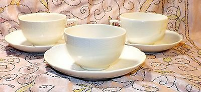 3 Rare Berlin Kpm Blanc De Chine Basketweave Teacups W/ Saucers