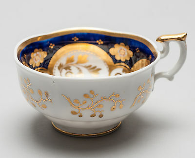 Antique Early 19th Century English Porcelain Breakfast Tea Cup with Cobalt Blue