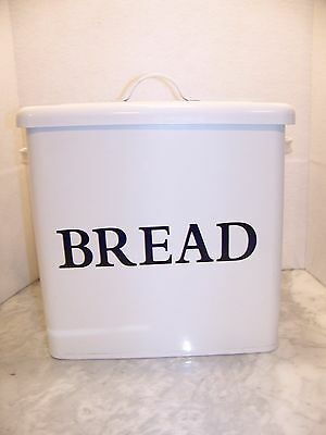 White Enamel VTG looking BREAD BOX French Country Farm Kitchen DISPLAYED ONLY