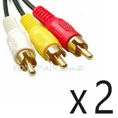 2 Pack Lot - 3FT Triple 3 RCA Red White Yellow Composite Audio Video Cable Gold