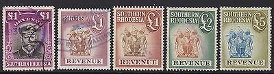 Southern Rhodesia Revenue Stamps To £5 Used (5)