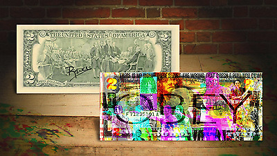 THE WALKING DEAD TV * OBEY * U.S. $2 Bill - HAND SIGNED by Artist RENCY * Banksy