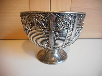 Japanese {?} Bamboo Design Footed Pewter Bowl