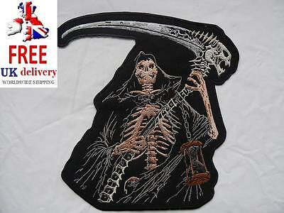 Grim Reaper Skeleton Large Iron-on/sew-on Embroidered Patch Motorcycle Biker