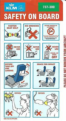 Safety Card - KLM - B737 300 - 2006 - Green Background (S2038)