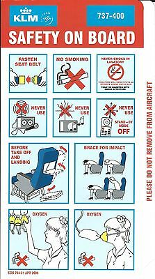 Safety Card - KLM - B737 400 - 2006 - Blue Background (S1635)