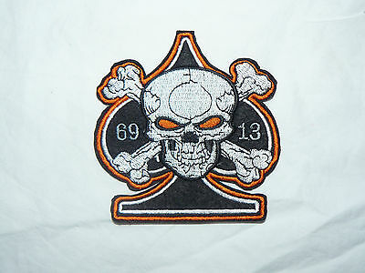 Ace of Spades Skull 13 69 Iron-on/sew-on Embroidered Patch Motorcycle Biker