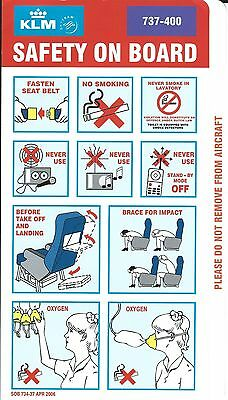 Safety Card - KLM - B737 400 - 2006 - Purple Background (S2039)