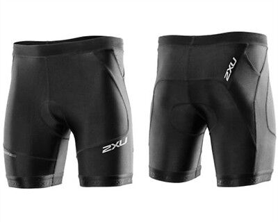 "New 2XU Men Perform Tri 7"" Short Triathlon Shorts Black Race Train Large"