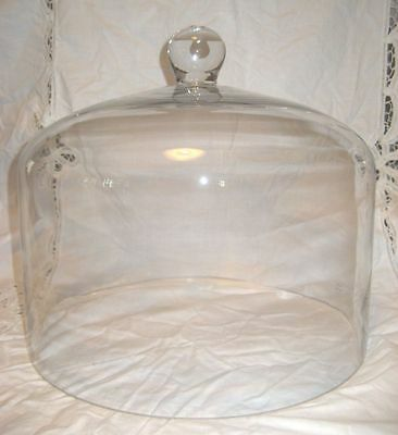 SALE~BIG 11 Wide~10.5 Tall Crystal GLASS CAKE DOME~Display~Wedding Cloche~Server