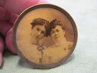 Antique Victorian Photo Mourning Pin with Two Sisters or Mother Daughter